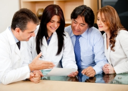 business people in meeting with doctors